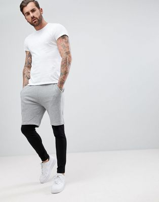 ASOS Skinny Shorts With Meggings In Grey