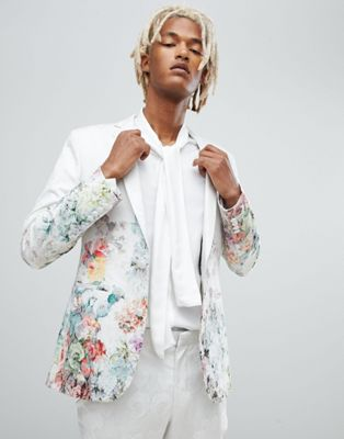 ASOS Skinny Suit Jacket In Floral Printed White Jacquard