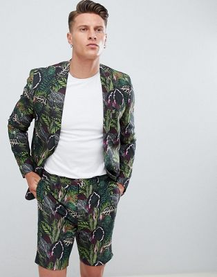ASOS Skinny Suit Jacket In Green Botanical Print In Linen Look