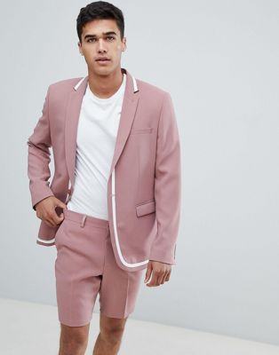 ASOS Skinny Suit Jacket In Pink with White Trim