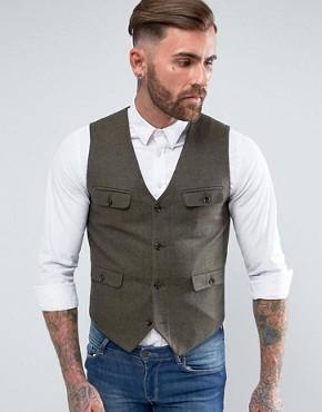 ASOS Skinny Waistcoat With Patch Pocket Detail In Khaki