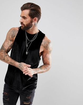 ASOS Sleeveless T-Shirt With Racer Back In Black Velour