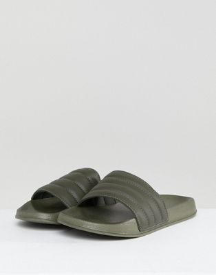 ASOS Slider In Khaki With Padded Strap