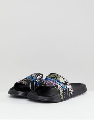ASOS Sliders In Floral Satin With Embroidery