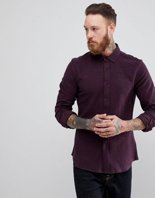 ASOS Slim Brushed Twill In Burgundy