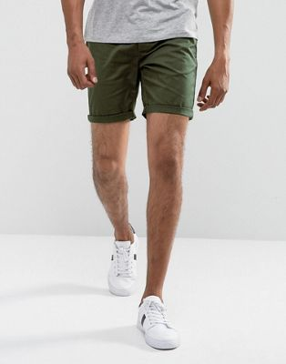 ASOS Slim Chino Shorts In Forest Green
