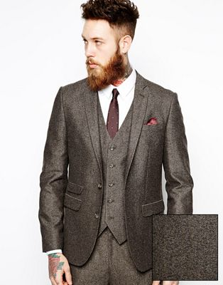 Image 1 of ASOS Slim Fit Suit Jacket In Herringbone