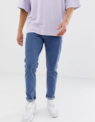 ASOS Slim Jeans In Flat Mid Wash