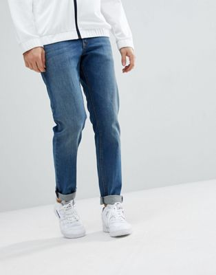 ASOS Slim Jeans In Mid Wash Blue