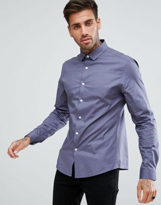 ASOS Slim Shirt In Charcoal