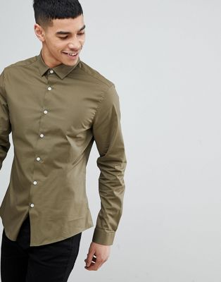 ASOS Slim Shirt In Olive