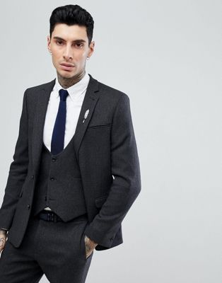 ASOS Slim Suit Jacket in Charcoal Wool Mix Twill