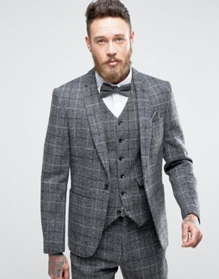 ASOS Slim Suit Jacket in Harris Tweed Windowpane Check In 100% Wool