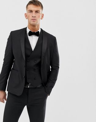 ASOS Slim Tuxedo Suit Jacket in Black 100% Wool