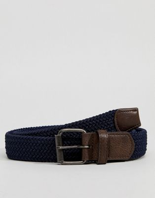 ASOS Slim Woven Belt In Navy
