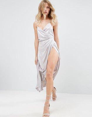 Image 1 of ASOS Slinky Lame Wrap Maxi Dress