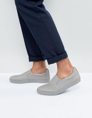 ASOS Slip On Plimsolls In Grey With Grey Sole