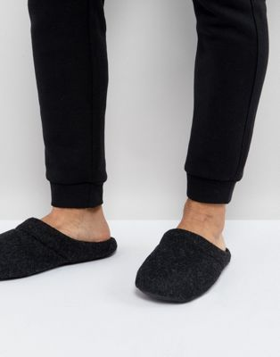 ASOS Slip On Slippers In Black Marl
