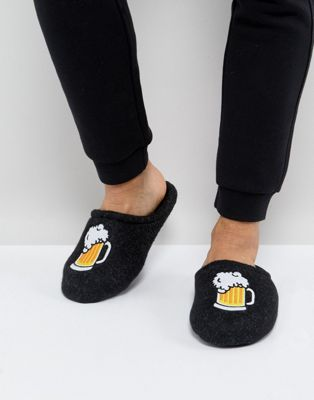 ASOS Slip On Slippers In Grey With Beer Embroidery