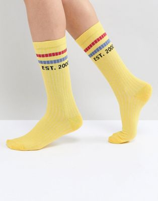 ASOS Slogan Stripe Calf Length Socks