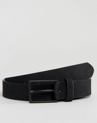 ASOS Smart Faux Suede Slim Belt In Black