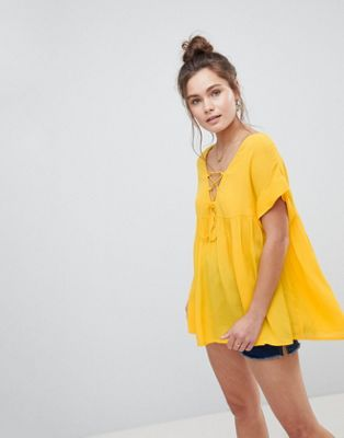 ASOS Smock Tunic with Lace Up Detail