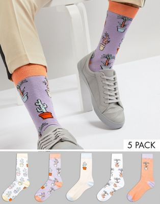 ASOS Socks With House Plant Design 5 Pack