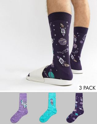 ASOS Socks With Rocket Space Design 3 Pack