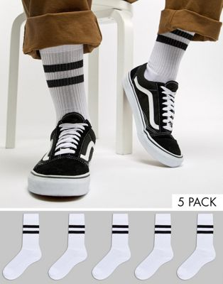 ASOS Sports Style Socks In White With Stripes 5 Pack