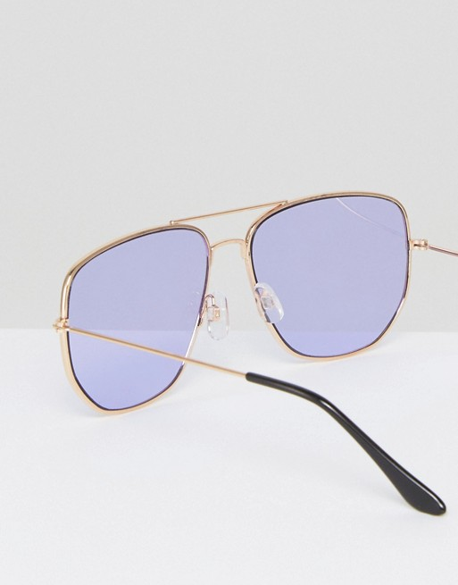 7f0970ec0 ASOS Square Aviator Glasses In Lilac Coloured Lens | ASOS