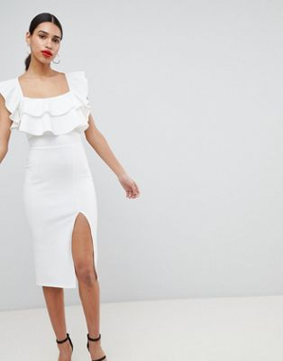 ASOS Square Neck Ruffle Front Midi Dress