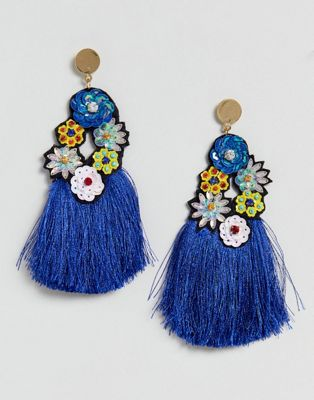 ASOS Statement Blue Sequin Tassel Earrings