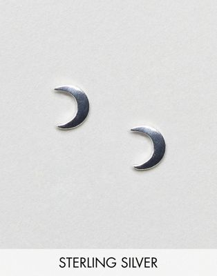ASOS Sterling Silver Moon Stud Earrings