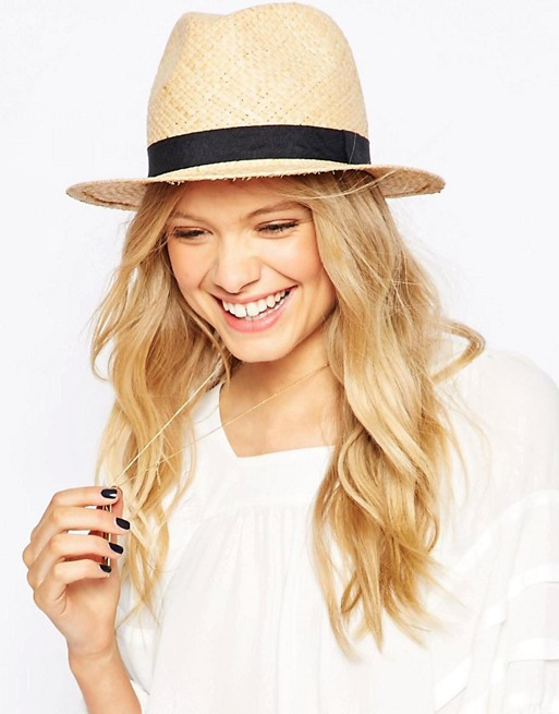 Image 1 of ASOS Straw Trilby Hat With Narrow Band