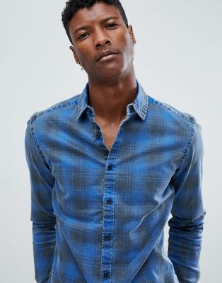 ASOS Stretch Slim Denim Check Shirt