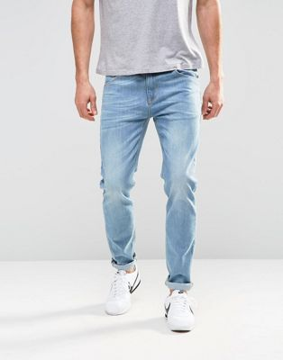 ASOS Stretch Slim Jeans In Light Blue Wash