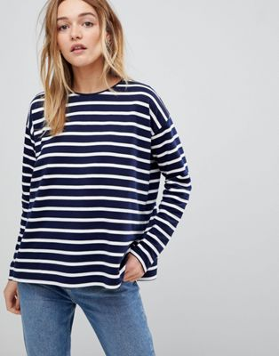 ASOS Stripe Top in Baby Loop Back