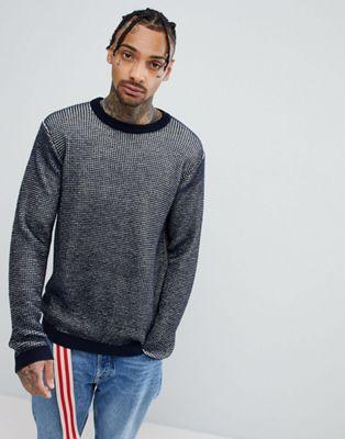 ASOS – Strukturierter Pullover mit Kontrastdesign in Marineblau