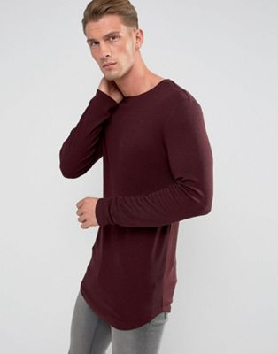 ASOS Super Longline Muscle Long Sleeve Rib T-Shirt With Curved Hem In Burgundy