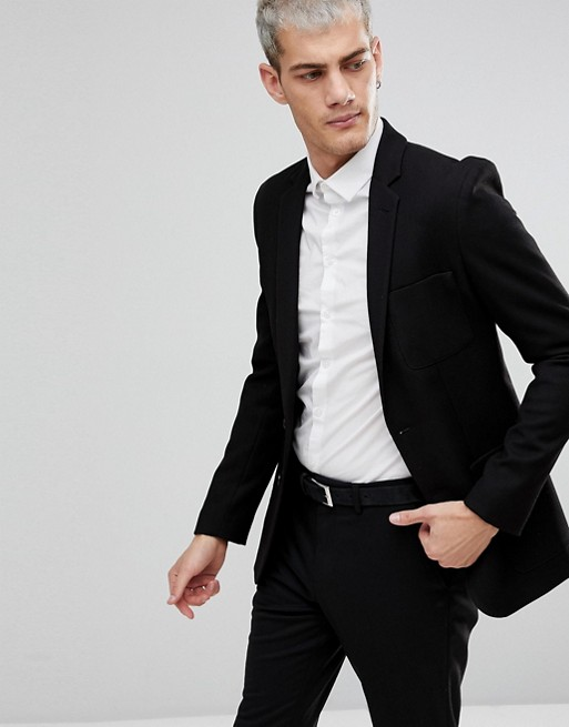 Image 1 of ASOS Super Skinny Blazer In Black Waffle Fabric