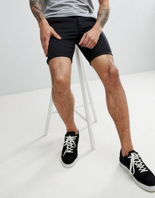 ASOS Super Skinny Chino Shorts In Black