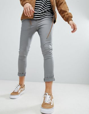 ASOS Super Skinny Cropped Chinos In Grey