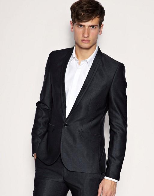 ASOS Super Skinny Fit Metallic Gray Jacket