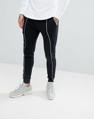 ASOS Super Skinny Joggers In Black With White Piping