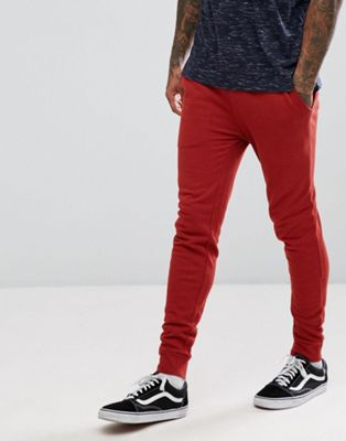 ASOS Super Skinny Joggers In Red