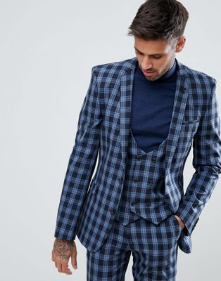 Image 1 of ASOS Super Skinny Suit Jacket in Blue Plaid  Check