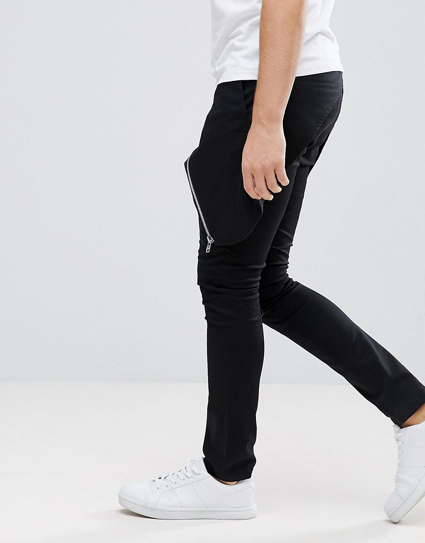 Asos Super Skinny Trousers With Skirt And Exposed Zips by Asos