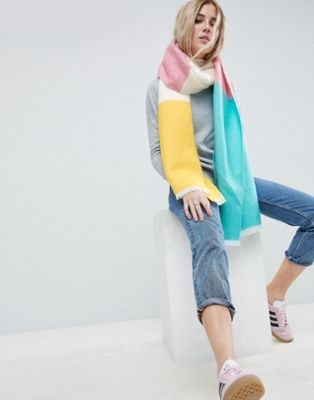ASOS Super Soft Long Woven Scarf in Colour Block
