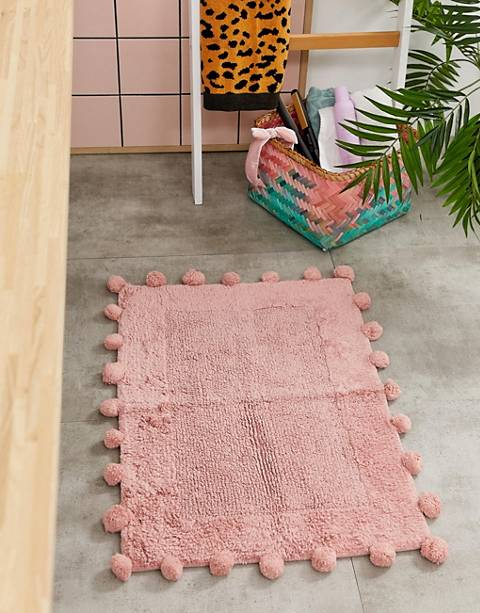 ASOS SUPPLY - Tapis de bain à pompons - Rose