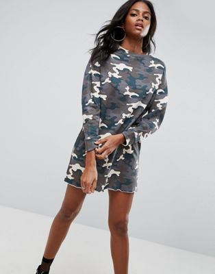 ASOS Sweat Dress In Washed Camouflage